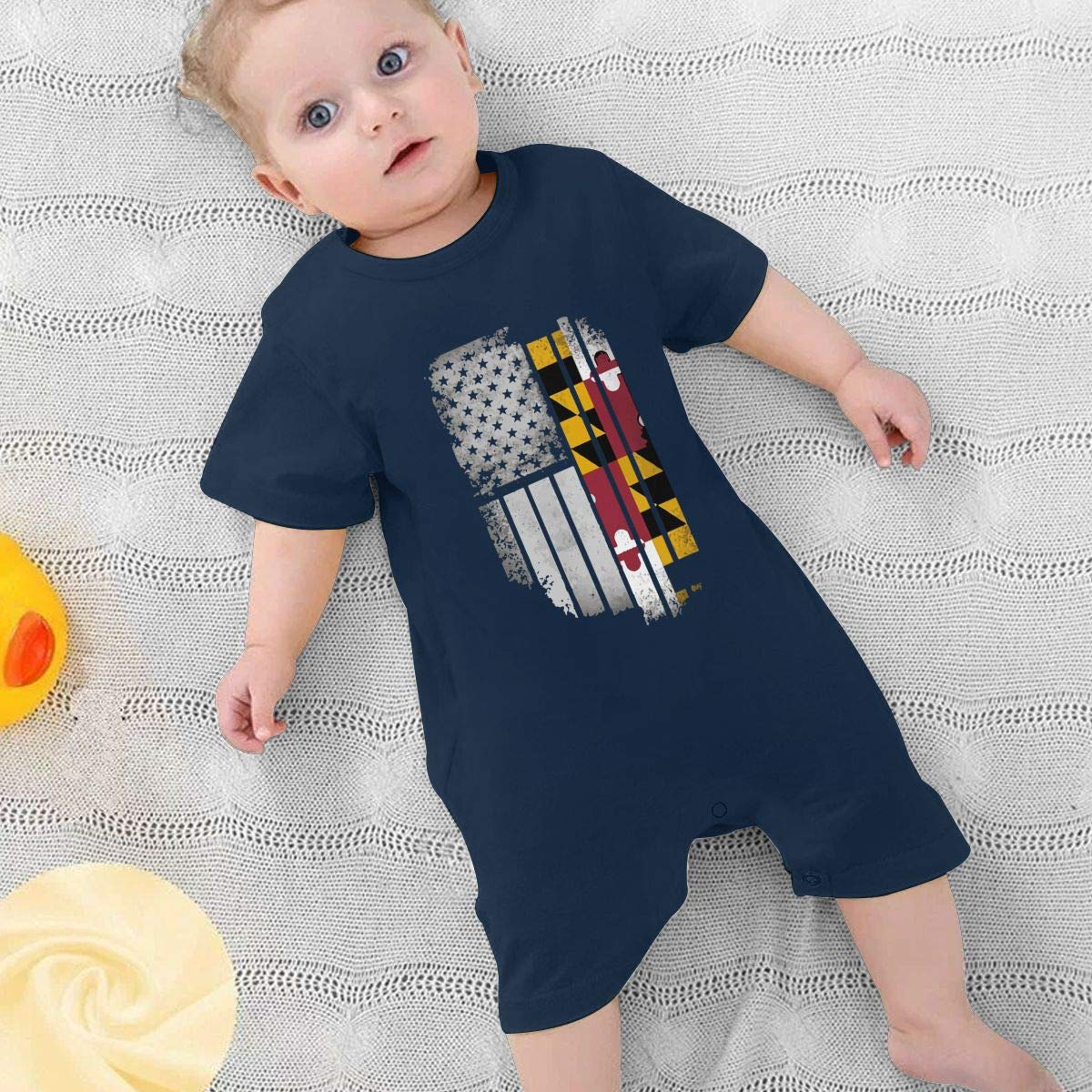 USA Vintage Maryland Flag Newborn Kids Short Sleeve Bodysuit Organic Coverall 0-24 Months