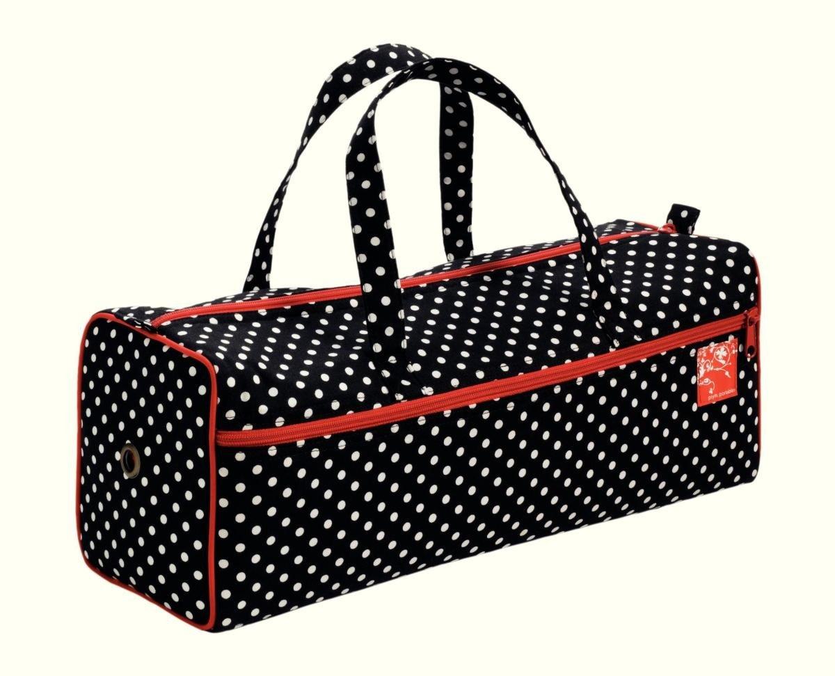 Prym Polka Dot Knitting and Needlework Bag with Red Trim, Cotton Blend, Black/White PRYM_612211-1