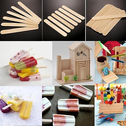 50 palitos de helado para manualidades, palitos de madera natural ...