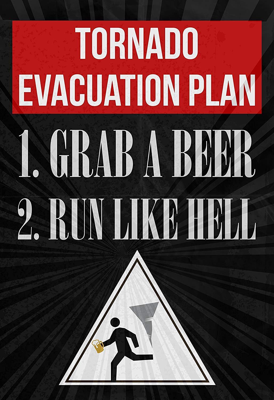 maitongzaix Tornado Piano di evacuazione 1/Prendi Una Birra 2/Run Like Hell Stampa Running Uomo con Birra dall Immagine Tornado Segnale Bere Fun Funny Humor Bar Decorazione da Parete Poster
