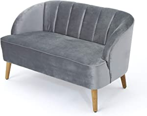 Christopher Knight Home Amaia Modern Velvet Sofa, Pewter / Walnut