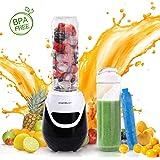 Aigostar Blackberry 30JDH - Frullatore Smoothie Mixer, 600W, con 2 bottiglie viaggio in Tritan da 600ml e 1 tubi frigoriferi, Mini Frullatore BPA FREE. Design esclusivo.