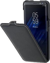 StilGut Housse pour Samsung Galaxy S8 en Cuir véritable à Ouverture Verticale, Noir