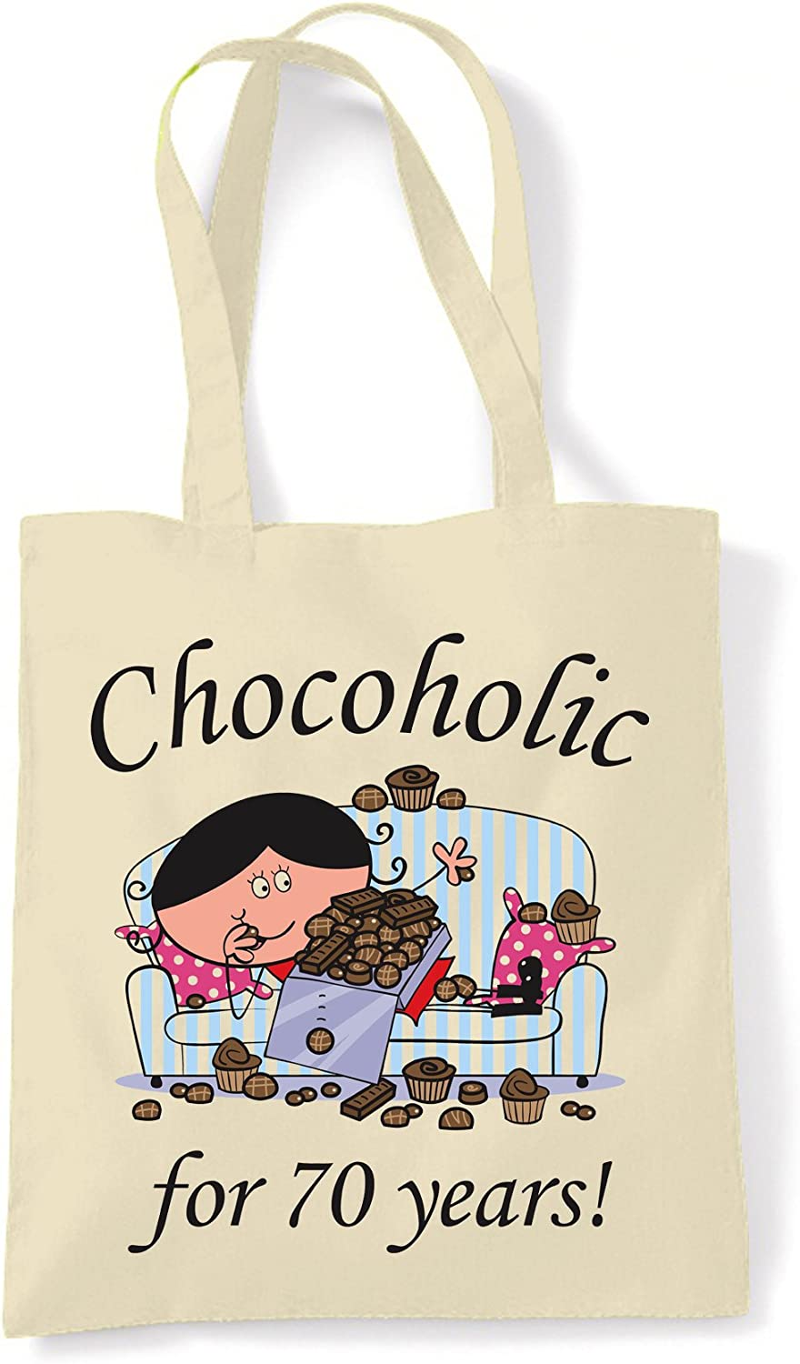 Chocoholic For 70 Years 70th Birthday Tote//Shoulder Bag