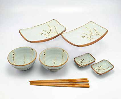 Happy Sales 8 Piece Japanese Cherry Blossom Dinnerware Set Light Blue & Amazon.com: Happy Sales 8 Piece Japanese Cherry Blossom Dinnerware ...