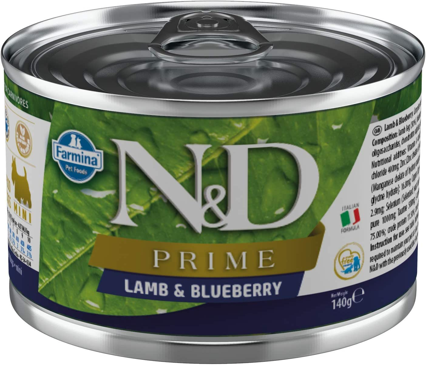 Farmina N&D Prime Lamb and Blueberry Canned Adult Mini Dog Food 4.9 Ounces, case of 6