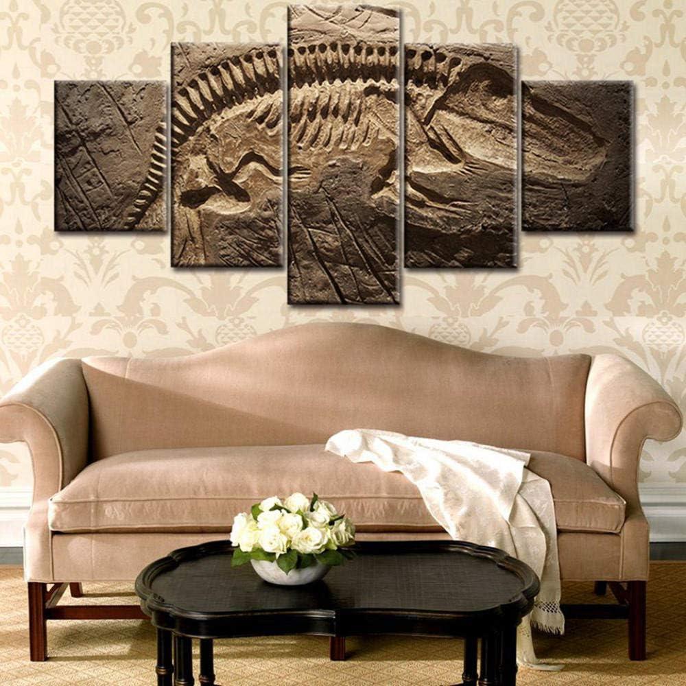 RuiYa Wall Art marco 5 pared lona pintura 50x25cm Fósil de dinosaurio abstracto retro amarillo Cartel Impresión pintura artísticas de alta definición Póster arte de pared cuadro paneles modulares foto