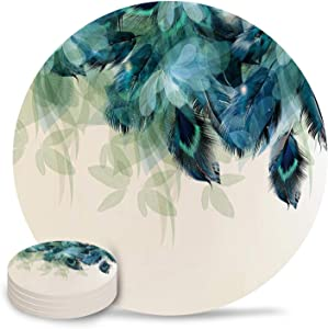 Set of 4 Coasters for Drinks Absorbing Round Ceramic Stone Coaster With Cork Base,Peacock Feather Teal Blue Turquoise Floral Green Leaf Coffee Table Coasters