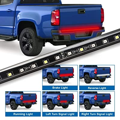 Fuguang Truck Tailgate Light Bar Flexible Waterproof Red/White Strip Light for Ford GMC Dodge Toyota Nissan Honda Truck SUV 4X4, 5-Featured Revese Running Brake Turn Signal (IP65): Automotive