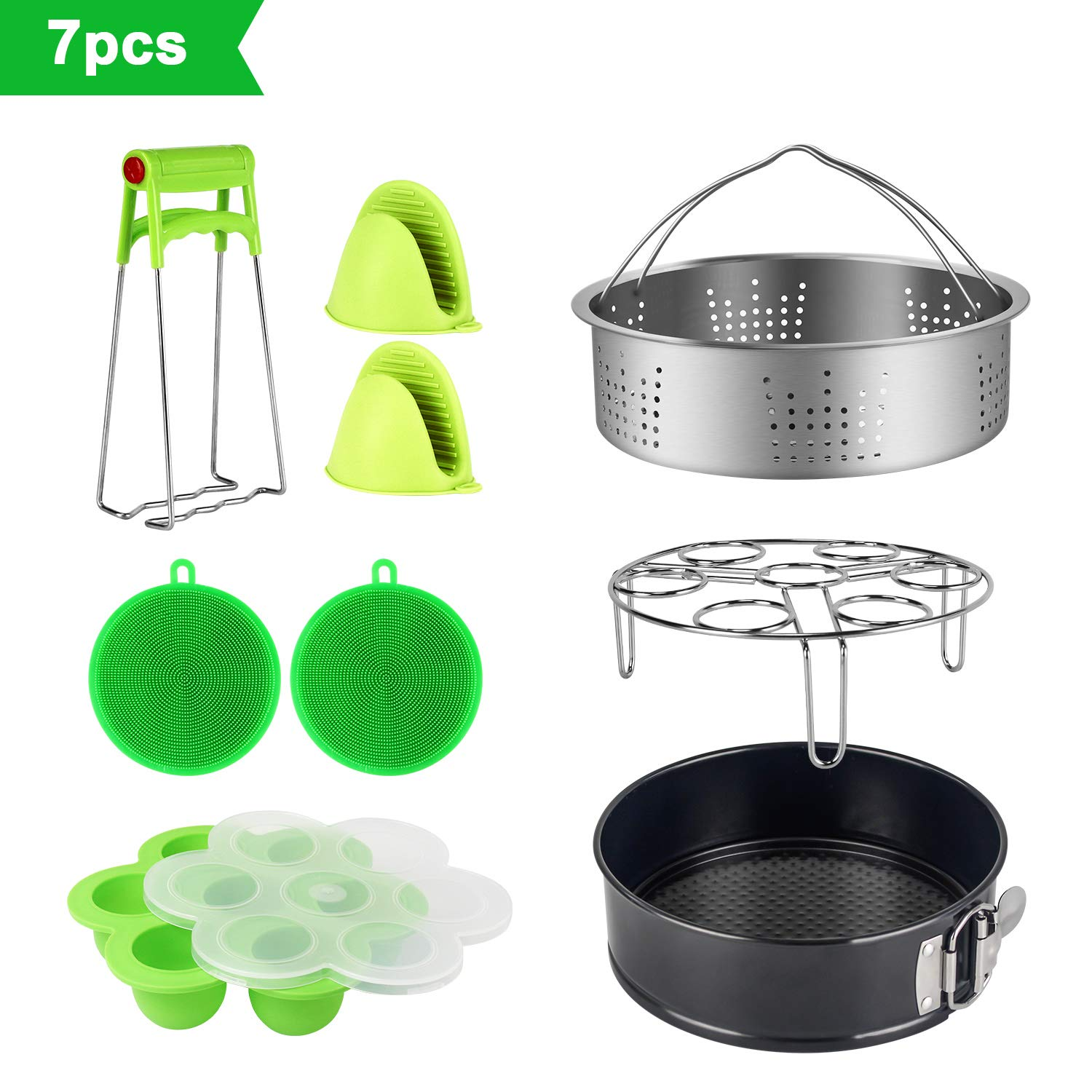 Instant Pot Accessories Set for 6,8Qt - With Standard Stainless Steel Steamer Basket, Non-Stick Springform Pan, Egg Steamer Rack, Silicone Egg Bites Mold, Oven Mitts, Bowl Clip and Silicone Scrub Pad SySrion