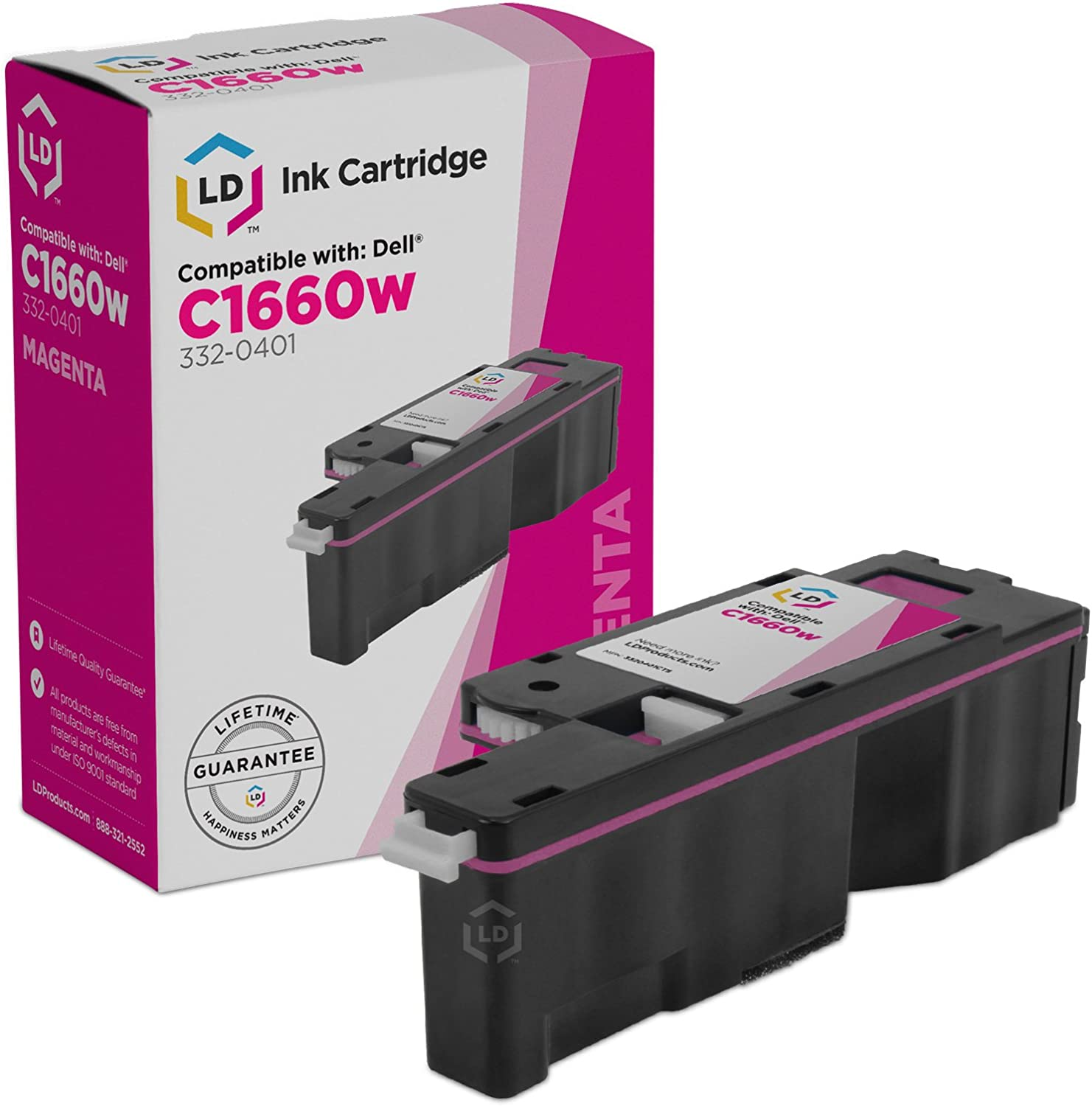 LD Compatible Replacement for Dell 332-0401 4J0X7 Magenta Toner Cartridge for use in Color Laser C1660w