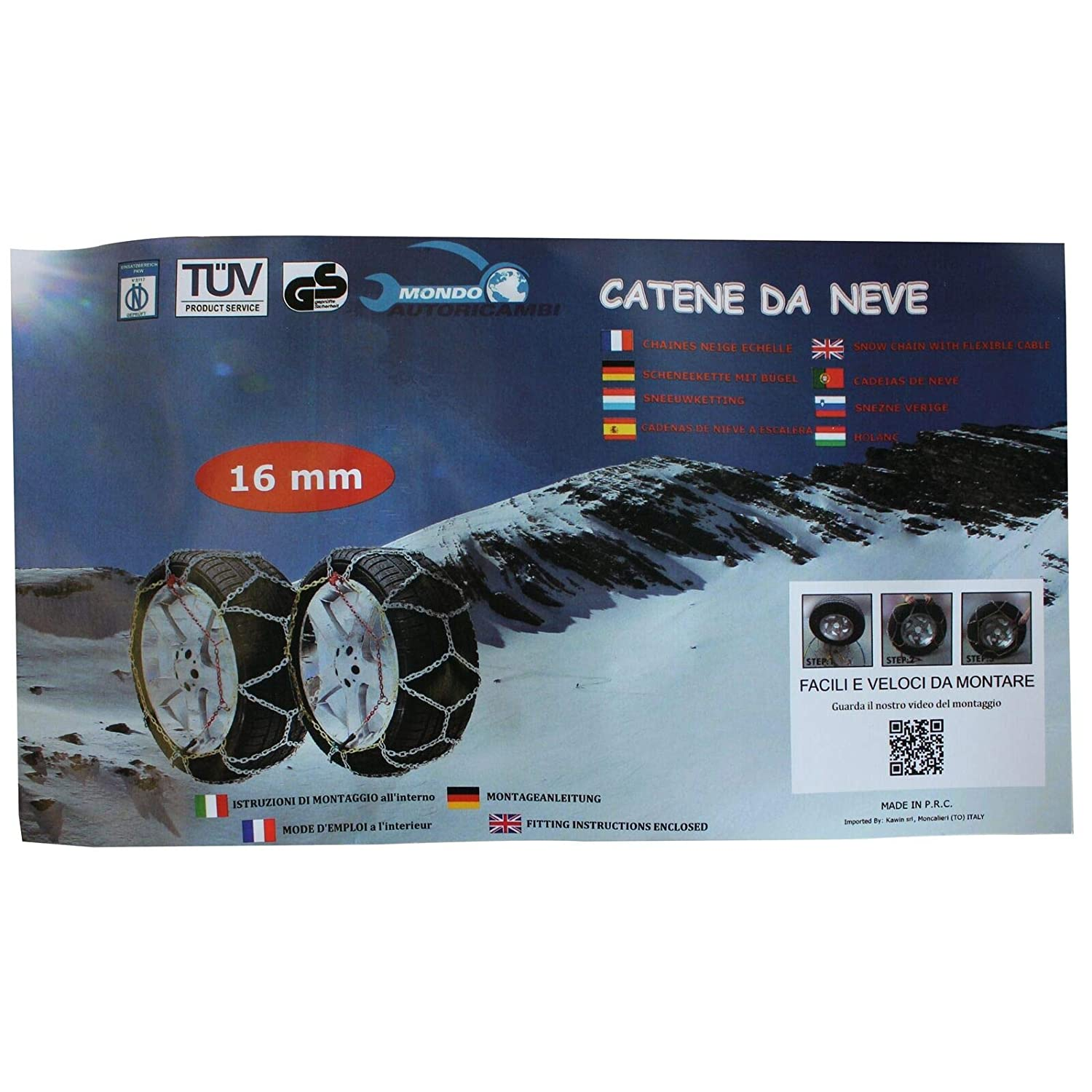 KAWIN Shopping on line Catene da Neve OMOLOGATE 195 75 16 V5117 16mm 195//75-16 R16 SUV 4x4