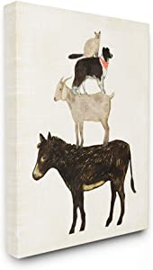 The Stupell Home Décor Collection Donkey Goat Dog and Cat Barnyard Friends Stacked Farm Animals Stretched Canvas Wall Art, 16 x 20, Multi-Color
