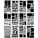 NouveLife Lot de 12 Pochoir Formes Géométriques Pochoir Géométrique Peinture 10 x 18cm Pochoir Flèhe Réutilisable Souple pour Scrapbooking Carte d'Anniversaire Décoration Murale