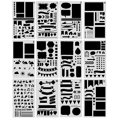 nouvelife - Set di 12 stencil forme geometriche Stencil geometrica ...