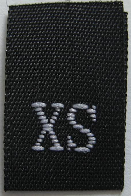 XXS BLACK 100 PCS WOVEN CLOTHING SEWING SIZE LABELS EXTRA EXTRA SMALL