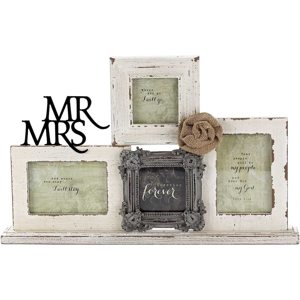 Dicksons Mr. and Mrs. Together Forever 15 x 10.5 Wood and Metal Collage Photo Frame