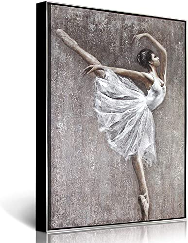 Lamplig Large Wall Art Hand Painted Oil Painting Ballet on Canvas Gray Modern White Dress Ballerina Dancer Wall Decor Framed for Bedroom Dining Living Room Office, Ready to Hang, 35.4 x 47.2 Inches