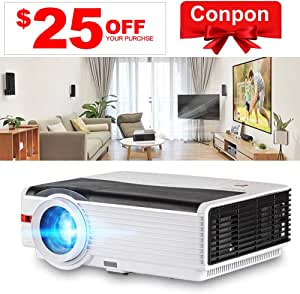 "LCD LED Outdoor HD Projector Multimedia Digital Movies Home Theater Projector 5000 Lumen, WXGA, 200"" Dispaly, 50000hrs Lamp-Life, with Zoom Speaker HDMI USB VGA for PC Wii TV Box Laptop DVD PS4 PS3"