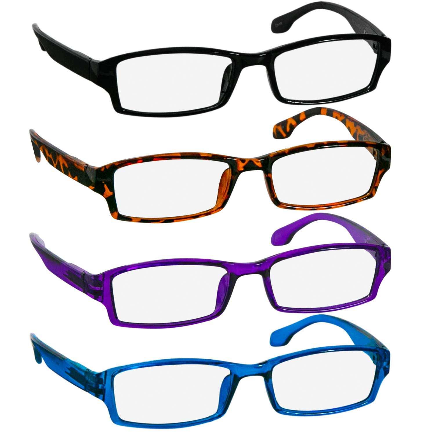 e391b7787344 Amazon.com  Reading Glasses 5.5 Black Tortoise Purple Blue Readers for Men  and Women - Stylish Look and Crystal Clear Vision When You Need It!Spring  Arms ...