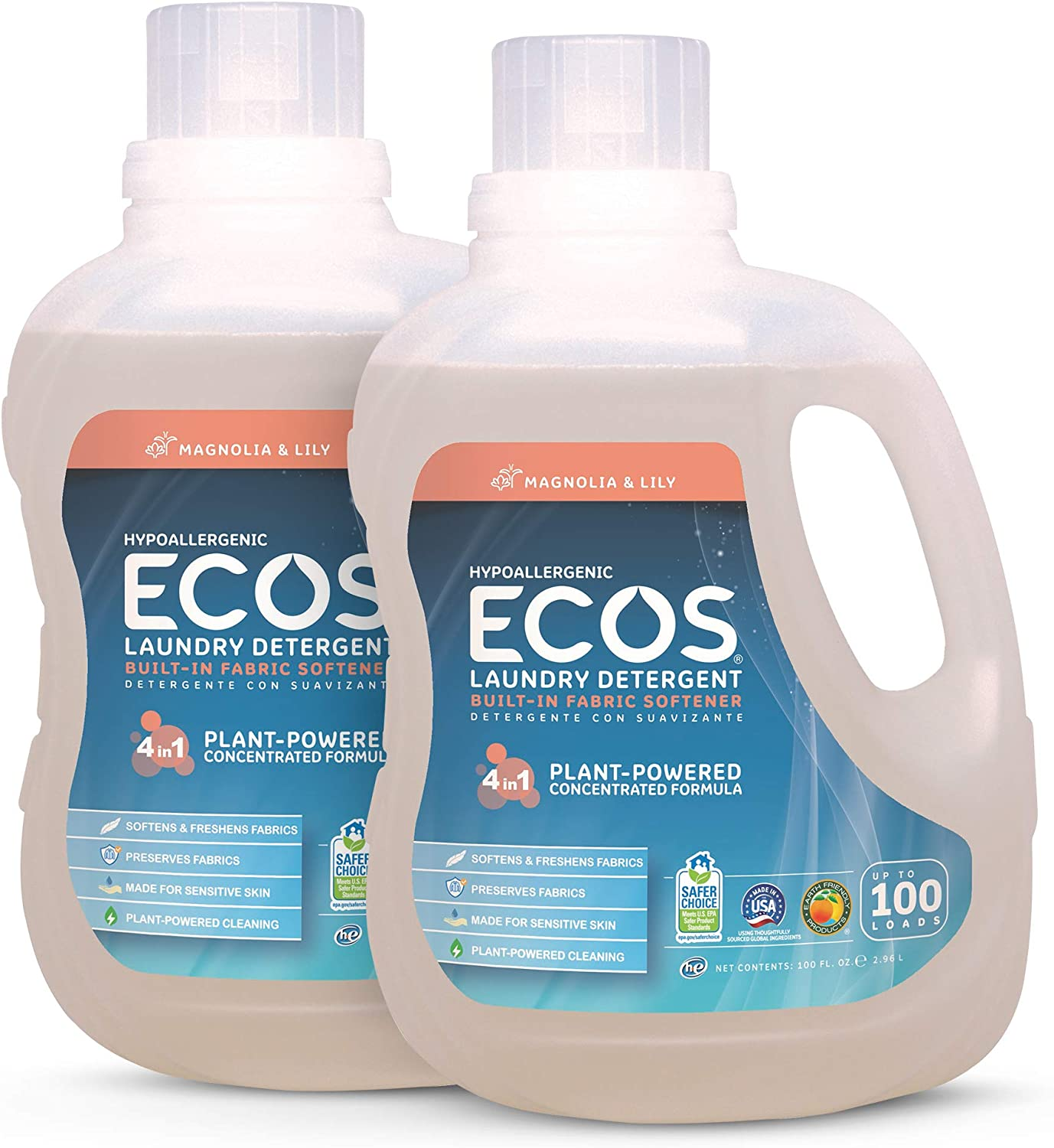 Earth Friendly Products ECOS 2X Hypoallergenic Liquid Laundry Detergent, Magnolia & Lily, 200 Loads (Pack of 2, 100 Ounce ea)