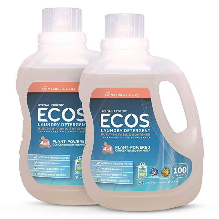 Earth Friendly Products ECOS 2X Liquid Laundry Detergent, Magnolia & Lily, 200 Loads, 100 Fl Oz (Pack of 2)