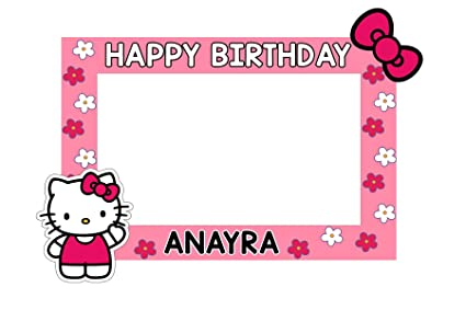 a4b21785f08b0 WoW Party Studio Personalized Hello Kitty Theme Birthday Selfie Photo Booth  Frame with Birthday Boy/Girl Name (3 ft)