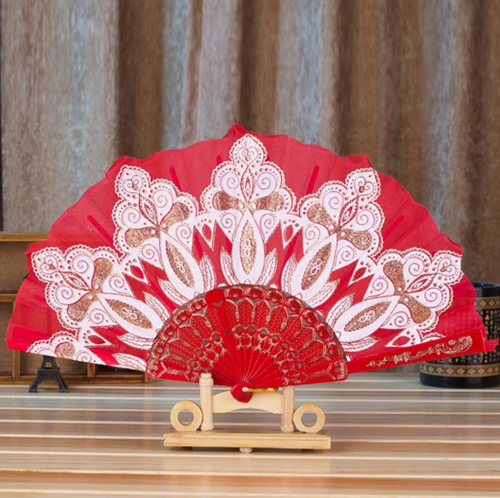 Amazon.com: Cinhent Hand Folding Fans Chinese/Spanish Style Dance ...