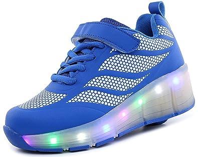 ECOTISH Kinder Jungen Mädchen LED Leuchtet Sneakers mit Einem Cooly Roller Skateboard Schuhe Sport Turnschuhe Damen Herren Weihnachtsgeschenk RWwuJ8gI