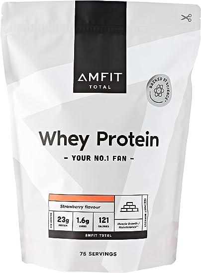 Marca Amazon - Amfit Nutrition Proteína de Suero de Leche en Polvo 2.27kg - Fresa (anteriormente PBN)