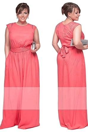 fb4077e6a43c Women Lace Shoulders Sleeveless Long Plus Size Gown Pink (20 ...