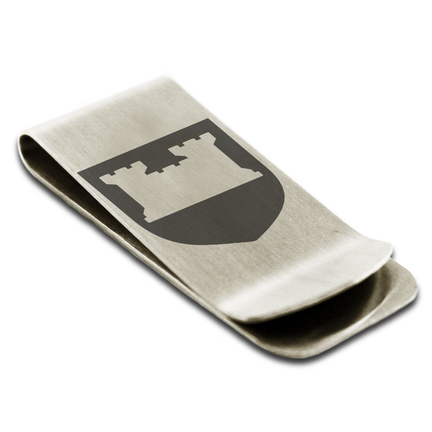 Stainless Steel Castle Protection Coat of Arms Shield Symbol Engraved Money Clip Credit Card Holder