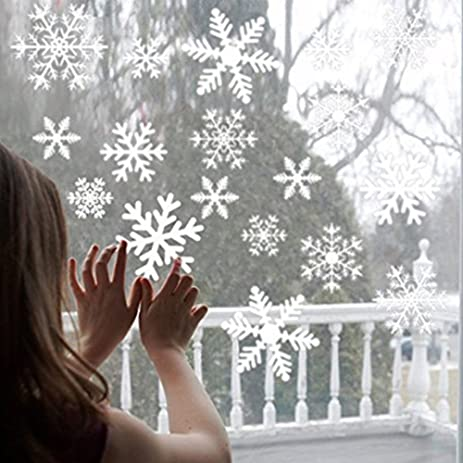 Amazoncom Christmas White Snowflake Window Clings Decal Pcs - Snowflake window stickers amazon