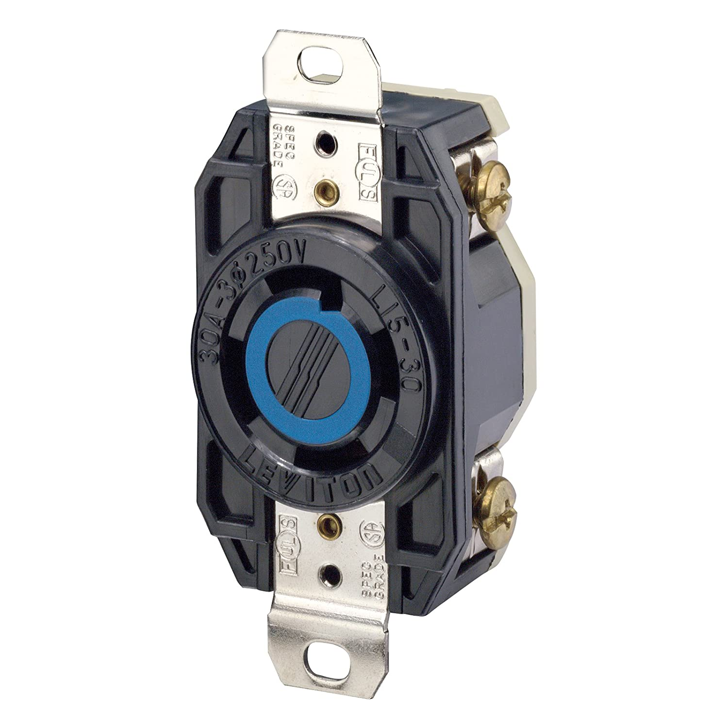 71QmADEo8EL._SL1500_ leviton 2720 30 amp, 250 volt 3 phase, flush mounting locking NEMA 1-15 at bakdesigns.co
