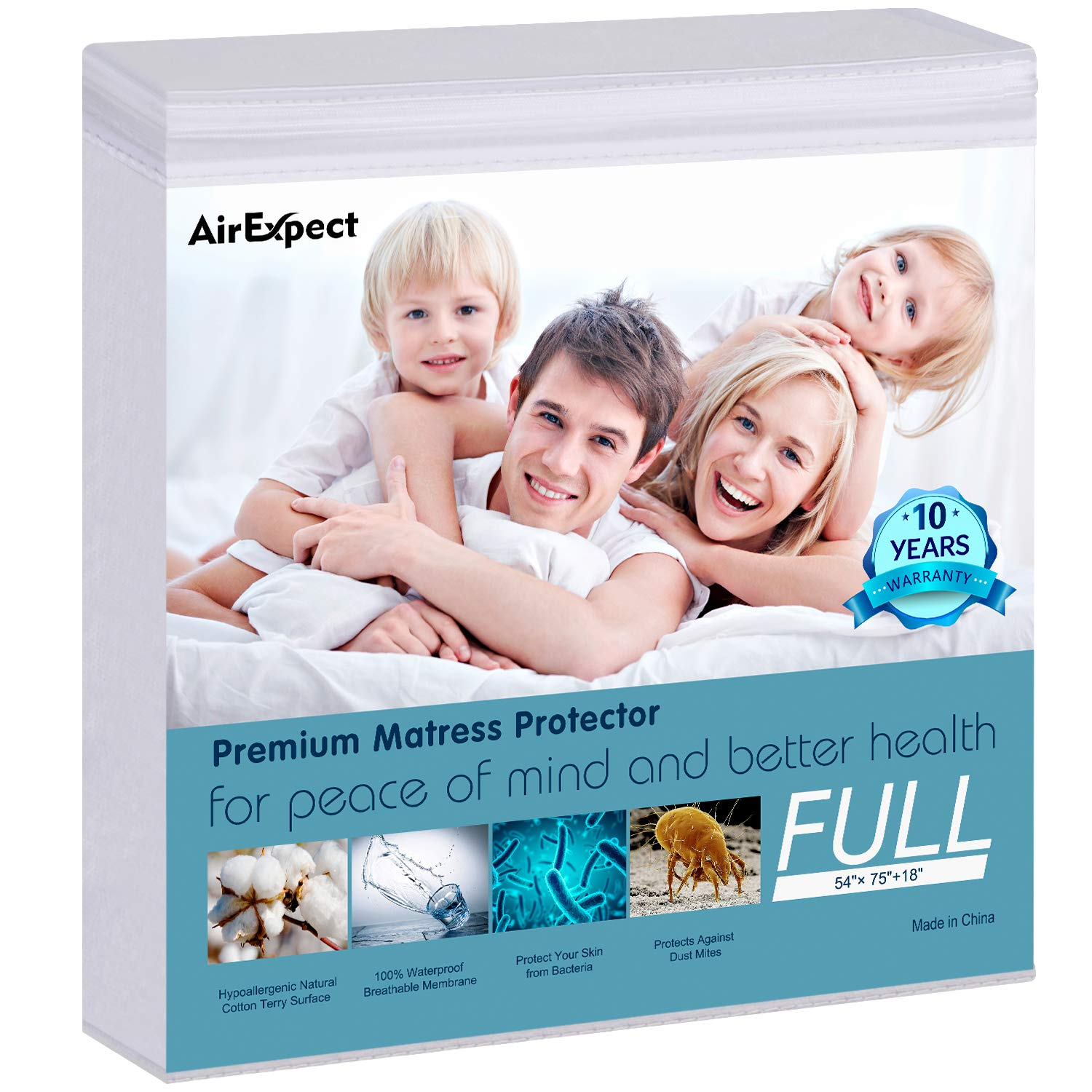 """Waterproof Mattress Protector Full Size - AirExpect 100% Organic Cotton Hypoallergenic Breathable Mattress Pad Cover, 18"""" Deep Pocket, Vinyl Free - 54""""x75"""""""