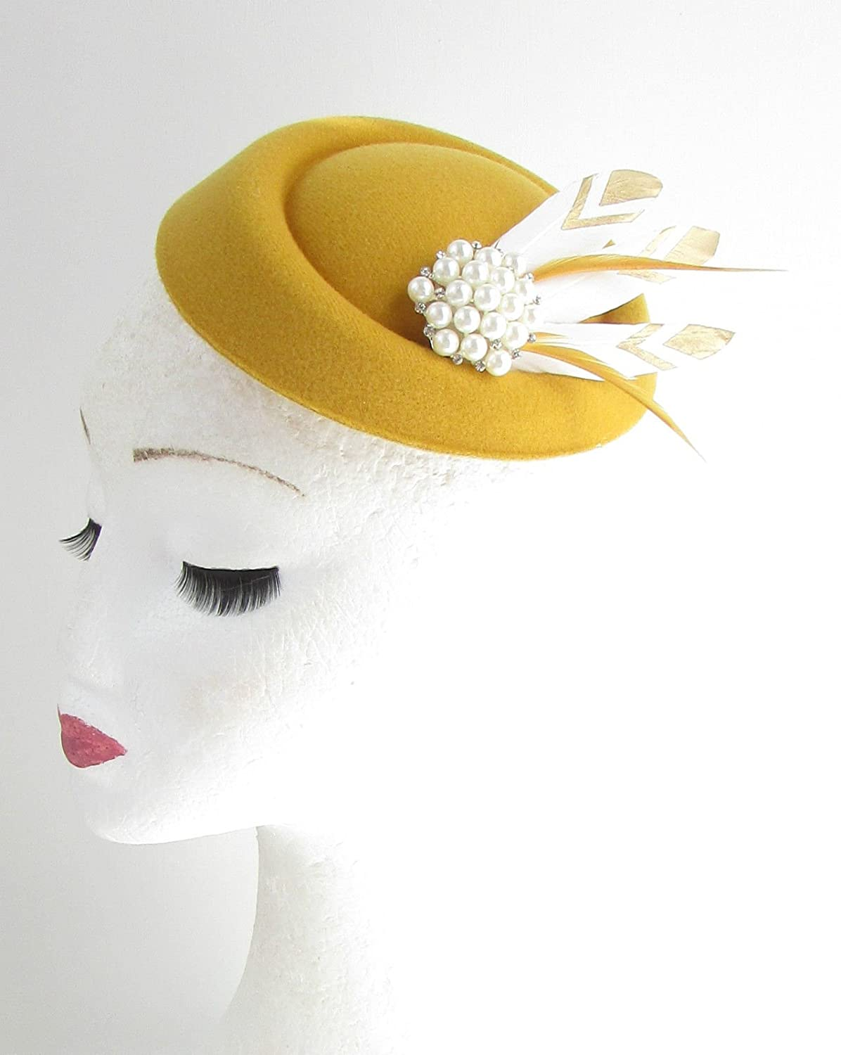 8923595046782 Mustard Gold White Feather Pillbox Fascinator Hat Races Vtg Yellow 40s Hair  552  EXCLUSIVELY SOLD BY STARCROSSED BEAUTY   Amazon.co.uk  Beauty