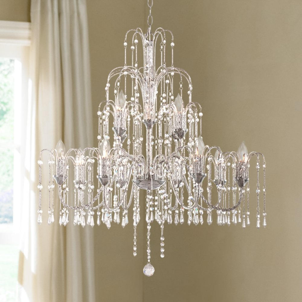 Crystal rain collection 33 wide large crystal chandelier amazon mozeypictures Image collections