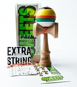 Sweets Kendamas 5-Stripe Prime Kendama - All Levels, Stripe Design, Extra String Accessory Bundle (Poncho)
