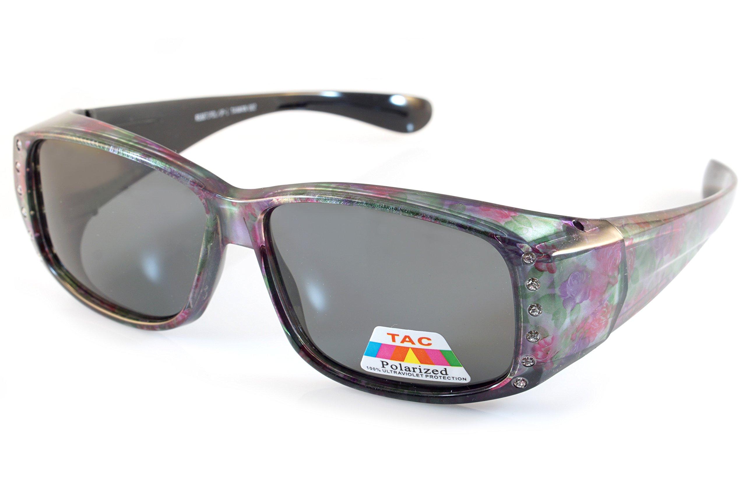 FBL Floral Pattern Bling Rectangular Polarized OTG Sunglasses P009 (Purple Red Flower)