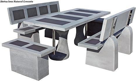 Conjunto Mesa Comedor Jardin DE Piedra Artificial con Fibra Y Acabados DE Acero Inoxidable. Status INOX Color (Cemento): Amazon.es: Hogar