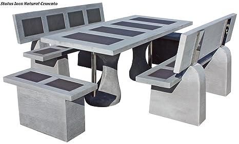 Conjunto Mesa Comedor Jardin DE Piedra Artificial con Fibra ...