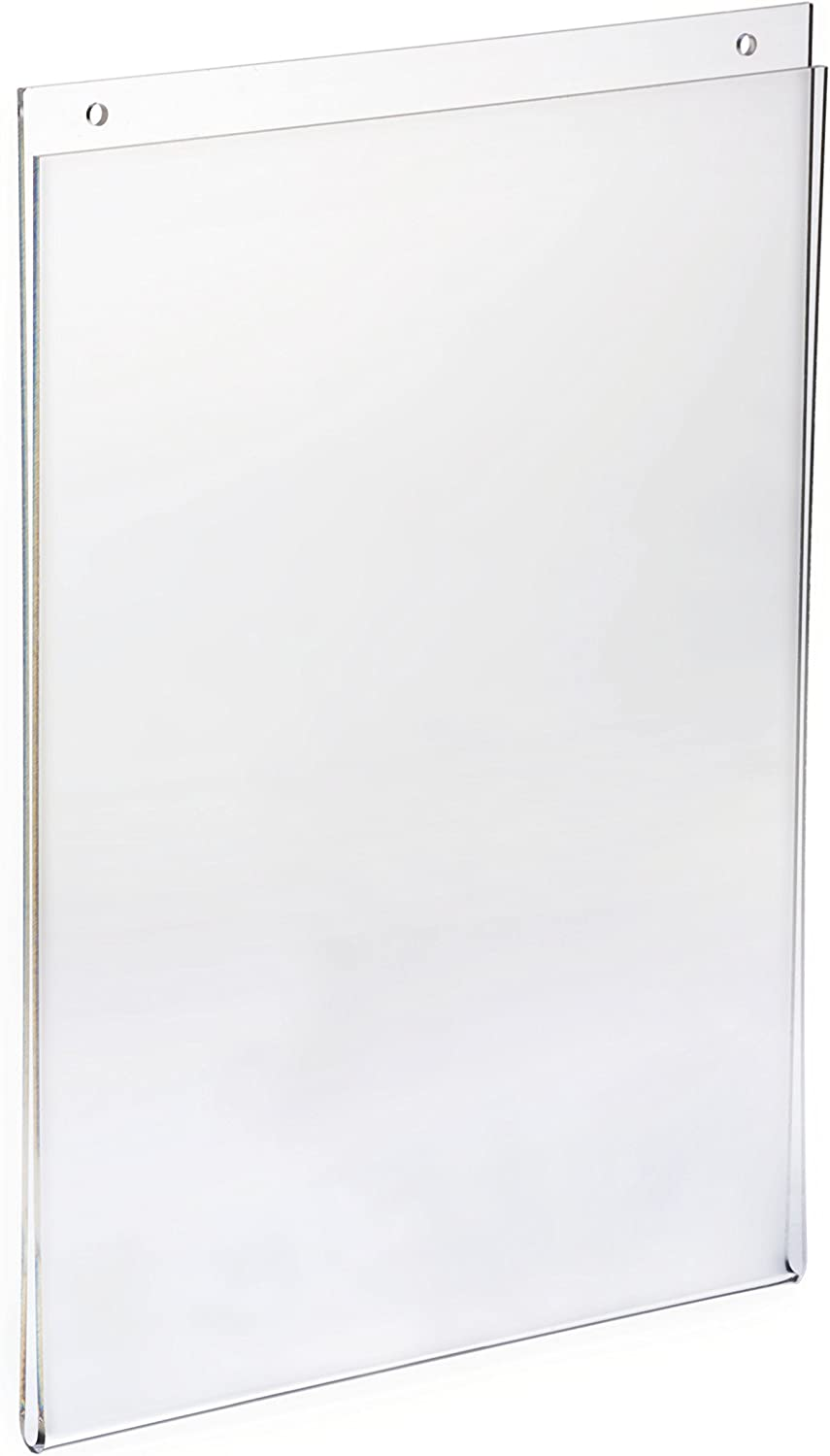 Displays2go Set of 10, Wall Mounted Sign Holder for 8.5 x 11 Inches Posters, Clear Acrylic, Easy Updating Without Removing The Frame from The Wall (FL8511)