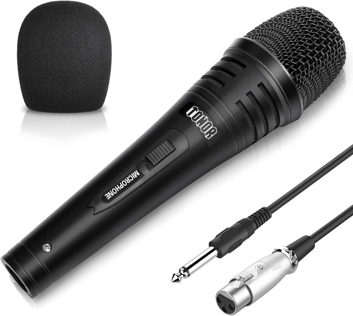 TONOR Micrófono Dinámico Profesional con Cable para DVD/TV/Audio/Reverberador/Mezclador/Autobús Turístico