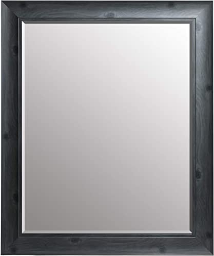 Everly Hart Collection Scoop Beveled Wall Mounted Accent Mirror, 24×30, Gray