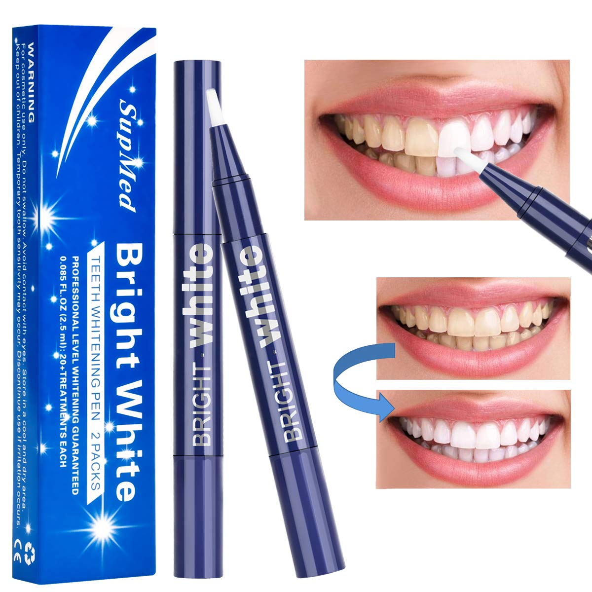 Amazon Com Supmed Teeth Whitening Pen 2 Pack Safe Carbamide