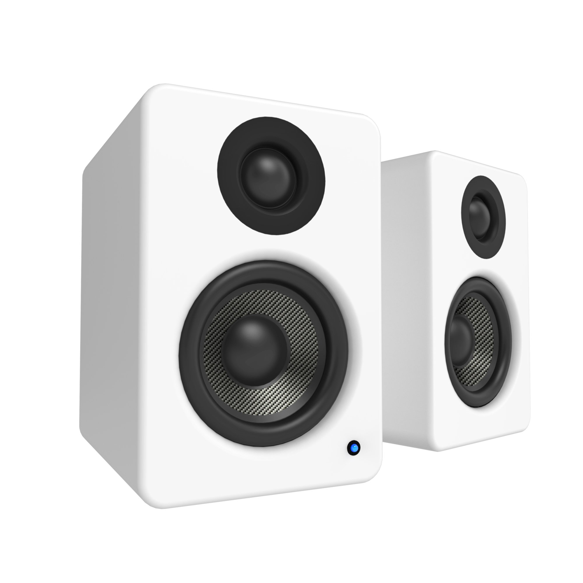 Kanto YU2 Powered Desktop Speakers – 3'' Composite Driver 3/4'' Silk Dome Tweeter – Matte White