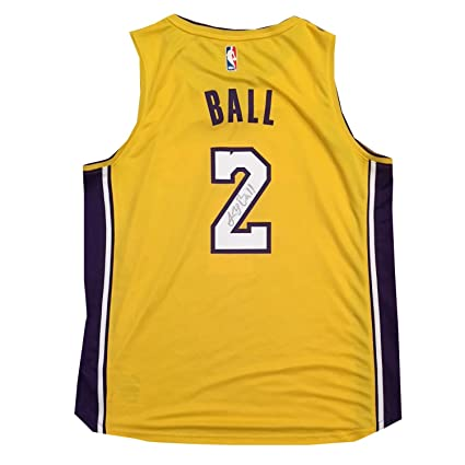 c7e7ace7ede6 Lonzo Ball Autographed Los Angeles Lakers Signed Basketball Jersey Beckett  BAS COA 4 at Amazon s Sports Collectibles Store