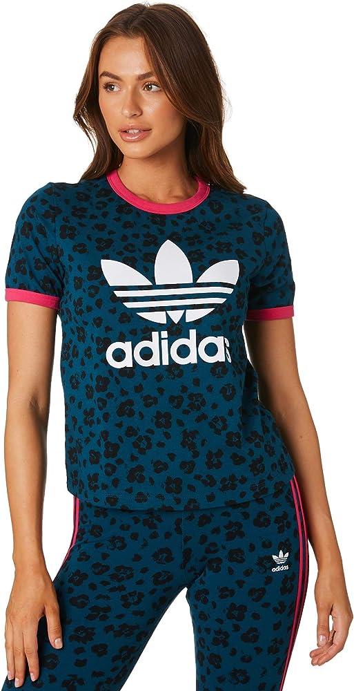 Del Norte letra subtítulo  adidas Allover Print tee Camiseta de Manga Corta, Mujer, Azul (Tech Mineral/ Black), 30: Amazon.es: Deportes y aire libre