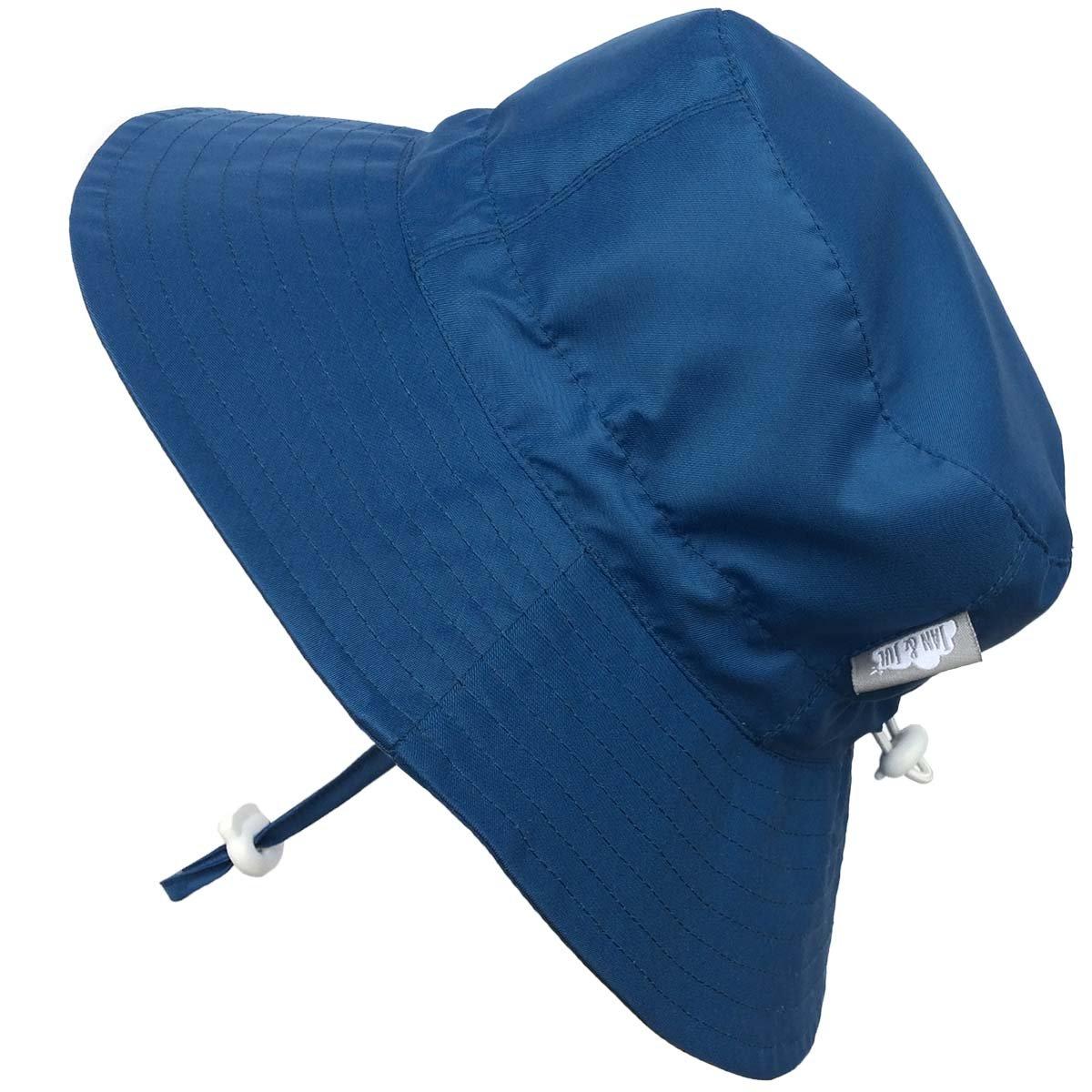 Kids 50+ UPF Bucket Sun Hat, Size Adjustable Aqua Dry (L: 15m - 5Y, Blue ) 14-58L
