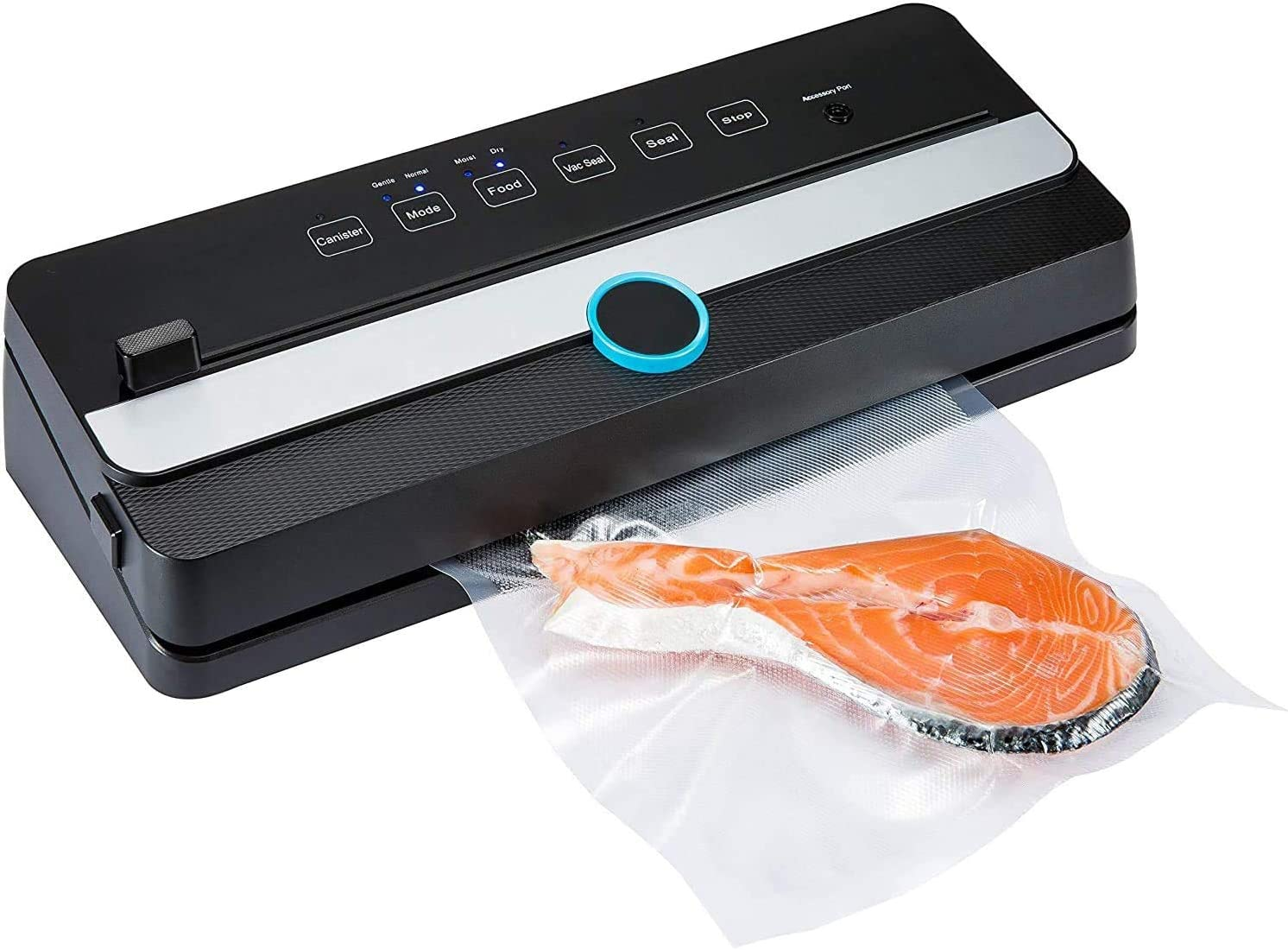 PBQWER Vacuum Sealer Machine | Automatic Vacuum Air Sealing System for Food Preservation W/Starter Kit | Compact Design | Lab Tested | Dry & Moist Food Modes | Led Indicator Lights